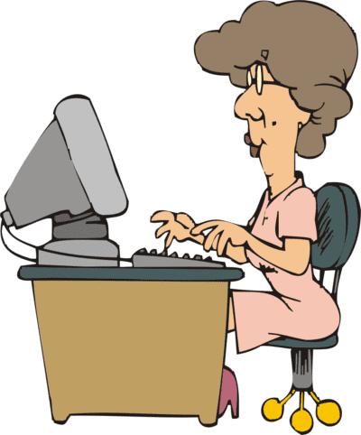 Иллюстрация Женщина за компьютером